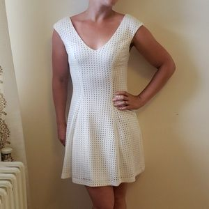 White Laser Cut Mini Dress by Love Ady